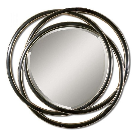 Uttermost B Matte Black With Silver Leaf Odalis Beveled Mirror With Entwined Circles Frame