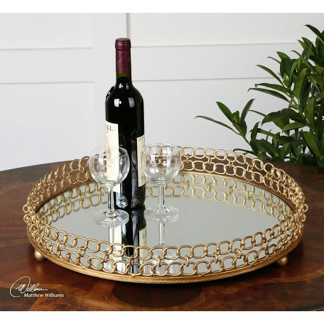 Uttermost Gold Leaf Dipali Mirrored Chain Link Decorative Tray