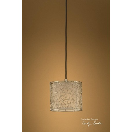 Uttermost Nickel Plated Ivory Single Light Silver Mini Hanging Shade
