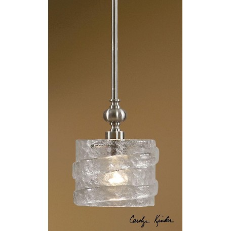 Uttermost Satin Nickel And Glass Mossa 1 Lt Mini Pendant