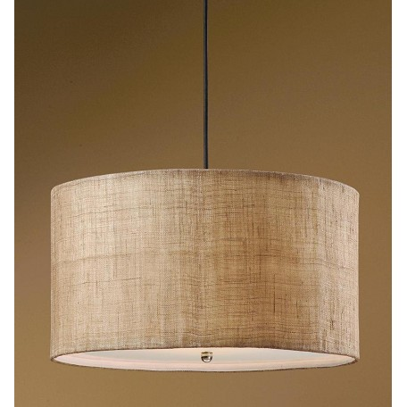 Uttermost Antiqued Burlap Weave 3 Light Hanging Drum Pendant From The Dafina Collection