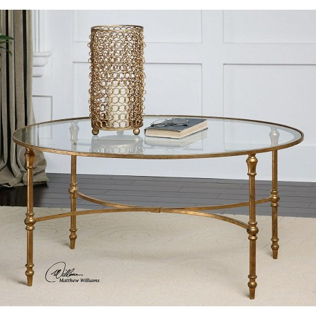 Uttermost Antique Forged Gold Vitya Glass Top Metal Leg Coffee Table