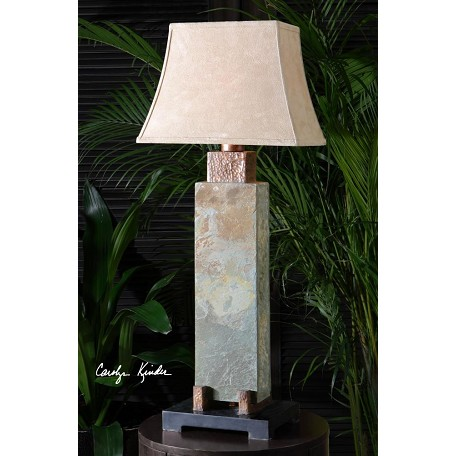 Uttermost Hammered Copper Details Slate Tall Indoor/Outdoor Table Lamp