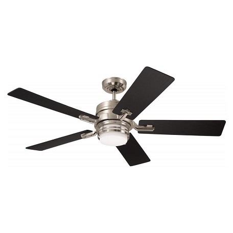 Emerson Fans Brushed Steel Amhurst 54in. 5 Blade Ceiling Fan - Blades and Light Kit Included