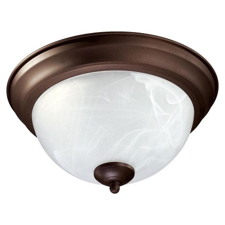 Quorum Two Light Oiled Bronze Faux Alabaster Glass Bowl Flush Mount