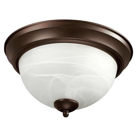 Quorum Three Light Oiled Bronze Faux Alabaster Glass Bowl Flush Mount