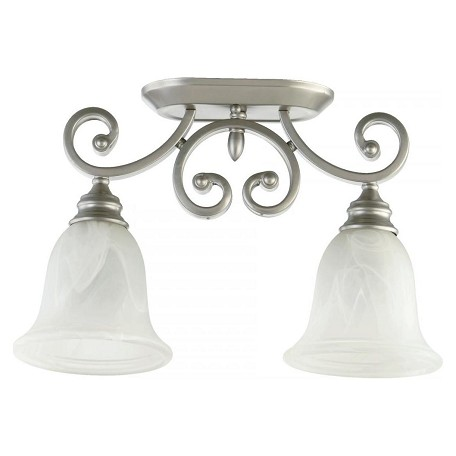 Quorum Two Light Faux Alabaster Glass Classic Nickel Bowl Semi-Flush Mount