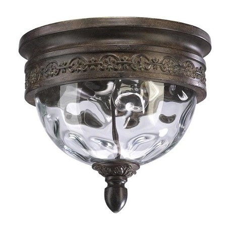 Quorum Two Light Etruscan Sienna Clear Glass Outdoor Flush Mount