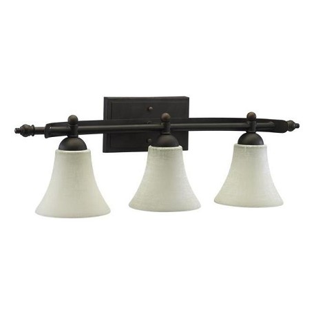 Bronze Vanity Lights With Clear Glass : Quorum Three Light Oiled Bronze Linen Glass Vanity Oiled Bronze 5077-3-86 From Aspen Collection