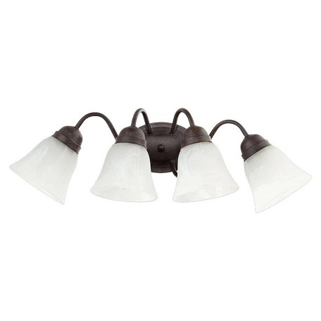 Quorum Four Light Toasted Sienna Faux Alabaster Glass Wall Light