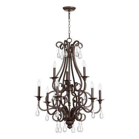 Quorum Nine Light Oiled Bronze Up Chandelier