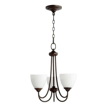 Quorum Three Light Oiled Bronze Satin Opal Glass Up Chandelier
