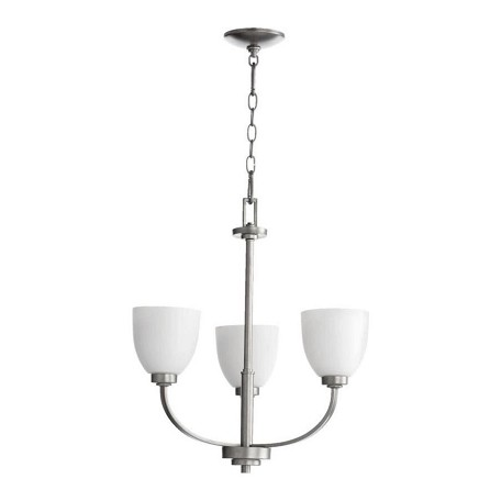 Quorum Three Light Satin Opal Glass Classic Nickel Up Chandelier