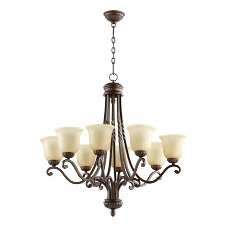 Quorum Eight Light Oiled Bronze Amber Scavo Glass Up Chandelier