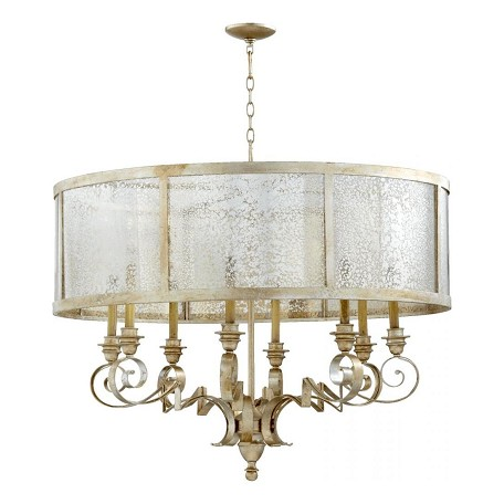 Quorum Eight Light Aged Silver Leaf Drum Shade Chandelier