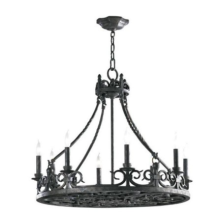 Quorum Eight Light Spanish Silver Up Chandelier