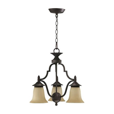 Quorum Three Light Toasted Sienna Amber Scavo Glass Down Chandelier