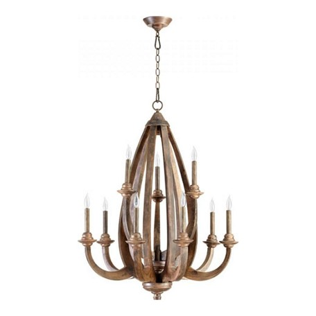 Quorum Nine Light Early American Up Chandelier