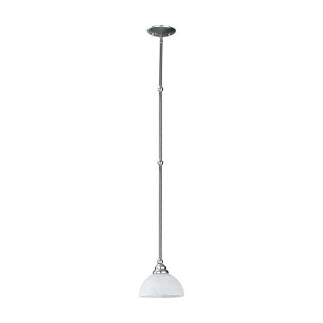 Quorum One Light Satin Nickel White Glass Down Mini Pendant