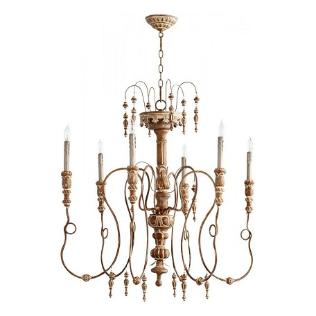 Quorum Six Light French Umber Up Chandelier
