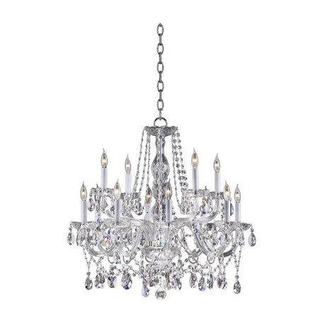 Quorum Twelve Light Chrome Imperial Crystal Glass Up Chandelier
