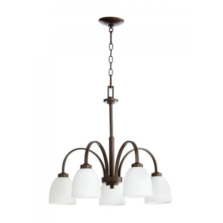 Quorum Five Light Satin Opal Glass Classic Nickel Down Chandelier