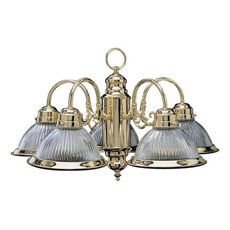 Quorum Five Light Polished Brass Ribbed Glass Down Chandelier