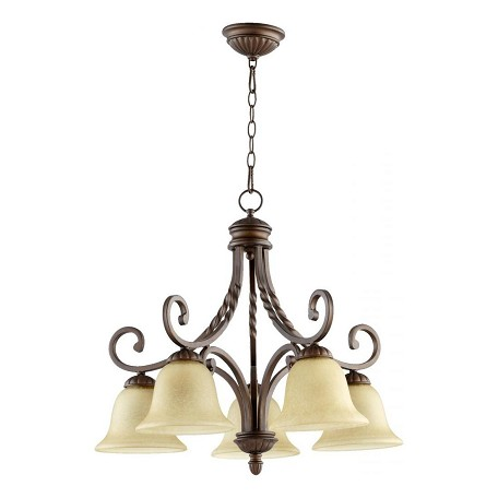 Quorum Five Light Oiled Bronze Amber Scavo Glass Down Chandelier