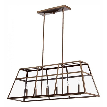 Quorum Six Light Oiled Bronze Clear Glass Island Light