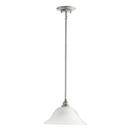 Quorum One Light Faux Alabaster Glass Classic Nickel Down Pendant