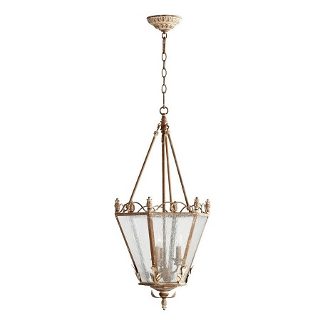 Quorum Three Light Clear Seeded Glass French Umber Foyer Hall Pendant