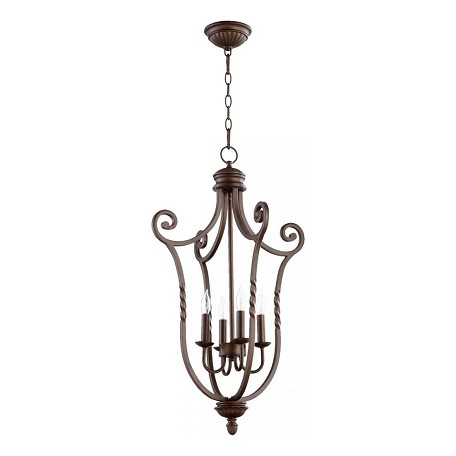Quorum Four Light Oiled Bronze Foyer Hall Pendant