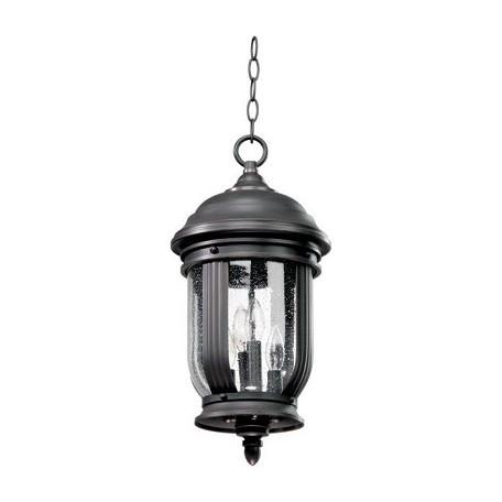 Quorum Four Light Old World Clear Glass Hanging Lantern