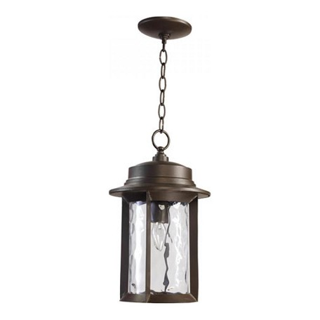 Quorum One Light Oiled Bronze Clear Hammered Glass Hanging