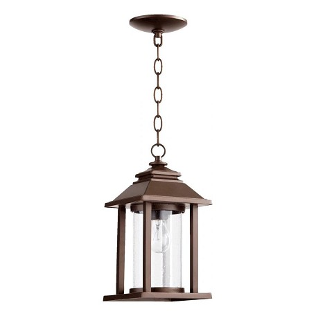 Quorum One Light Oiled Bronze Clear Glass Hanging Lantern