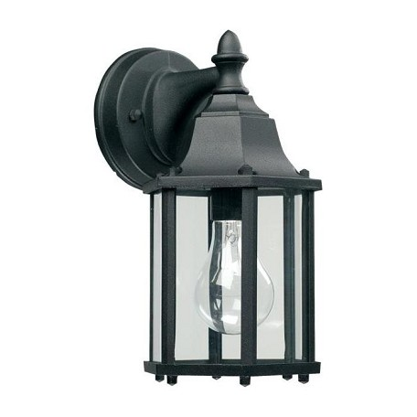 Quorum One Light Black Clear Glass Wall Lantern