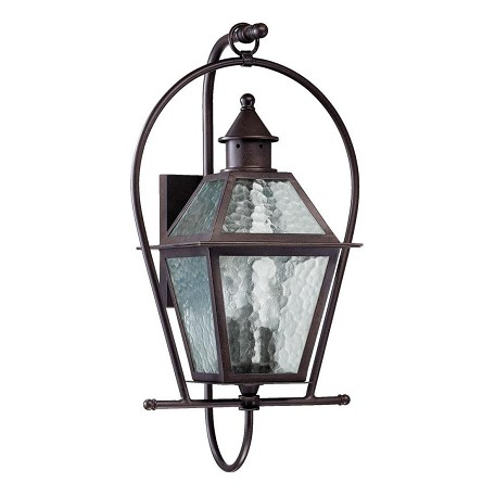 Quorum Three Light Oiled Bronze Clear Hammered Glass Wall Lantern