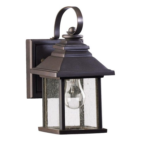 Quorum One Light Oiled Bronze Clear Seeded Glass Wall Lantern