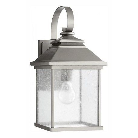 Quorum One Light Clear Seeded Glass Graphite Wall Lantern