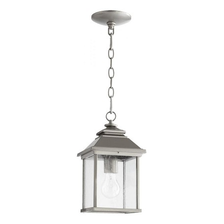 Quorum One Light Clear Seeded Glass Graphite Hanging Lantern