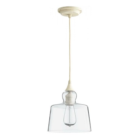 Quorum One Light Clear Glass Persian White Down Pendant