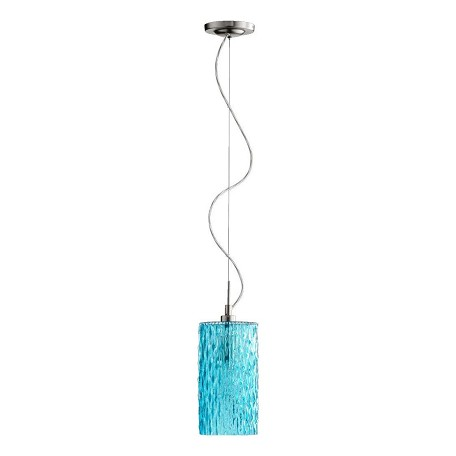 Quorum One Light Satin Nickel W/ Aqua Down Mini Pendant