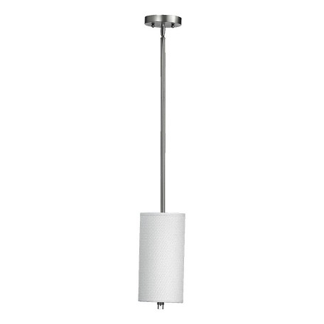 Quorum One Light Satin Nickel Drum Shade Mini Pendant