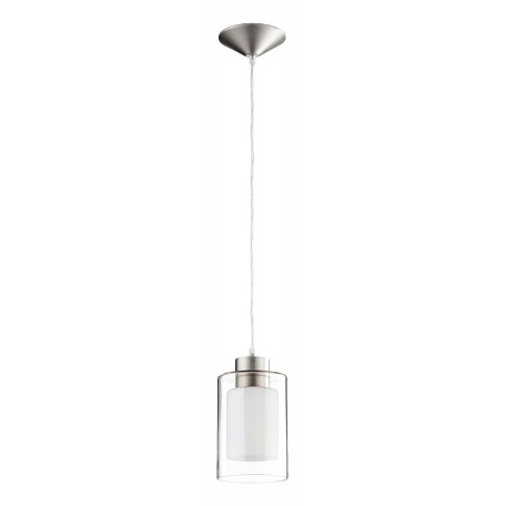 Quorum One Light Satin Nickel Clear And White Down Mini Pendant