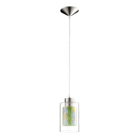 Quorum One Light Satin Nickel Clear And Green Down Mini Pendant