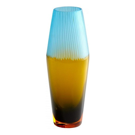 Cyan Designs Amber and Cyan Blue 12in. Small Chiseled Top Vase