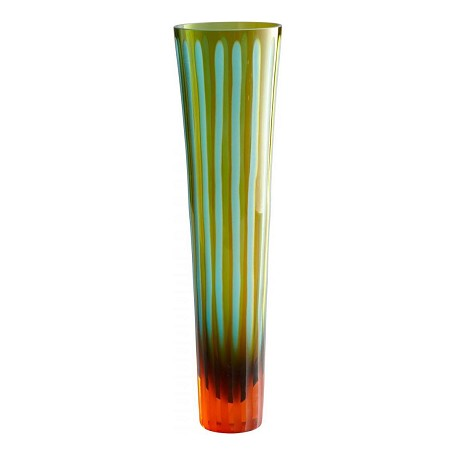 Cyan Designs Cyan Blue and Orange 11.5in. Large Cyan And Orange Striped Vase