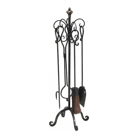 Cyan Designs Bronze with Gold Accents 33in. Scroll Hearth Stand And Tools