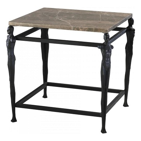 Cyan Designs Old World and Brown Marble 21.75in. Male End Table