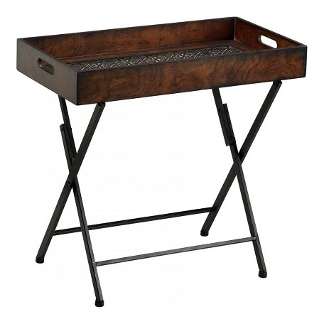 Cyan Designs Mahogany and Rustic Iron 23.25in. Heritage Tray Stand